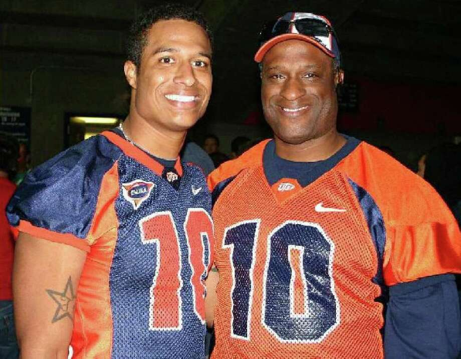 UTEP's Trevor Vittatoe and his father, Vern Vittatoe, a former Marshall High basketball standout, pose for a photo recently.