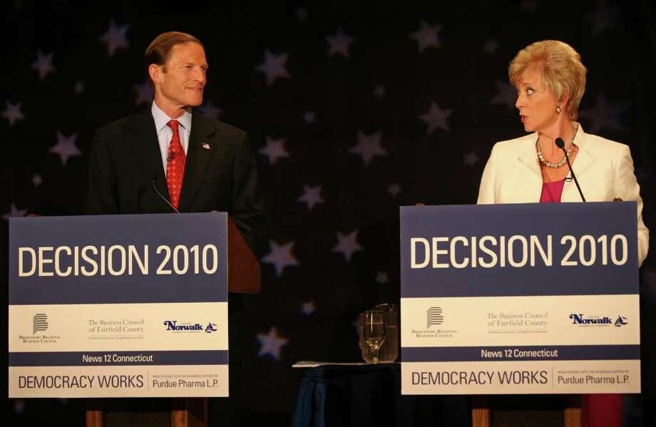 Senate Democratic Candidate Richard Blumenthal and Republican Candidate Linda McMahon trade barbs during their debate, Thursday morning, October 7, 2010 at the Continental Manor in Norwalk. Photo: Brian A. Pounds / Connecticut Post