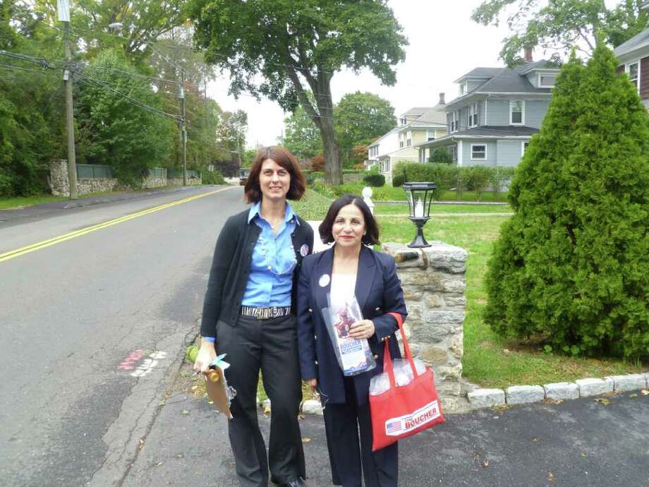 State Senator Toni Boucher (right) and Westport Republican Kristin LeFleur pose while going door-to-door campaigning on Treadwell Ave. on Tuesday Oct. 5, 2010. Photo: Tom Cleary / Fairfield Citizen