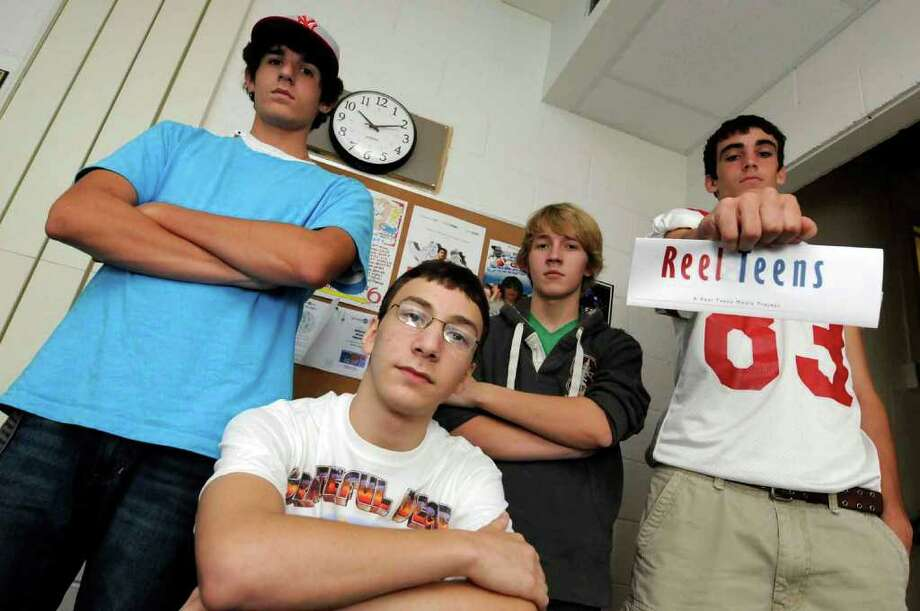 Left to right, Niskayuna High School students Matt Nicoletta, Alex Burstein, Kristjan Salasoo and John Michael Fragnoli who have had videos selected for the Reel Teens film festival in Hunter New York Friday 10/01/2010. (Michael P. Farrell / Times Union) Photo: Michael P. Farrell