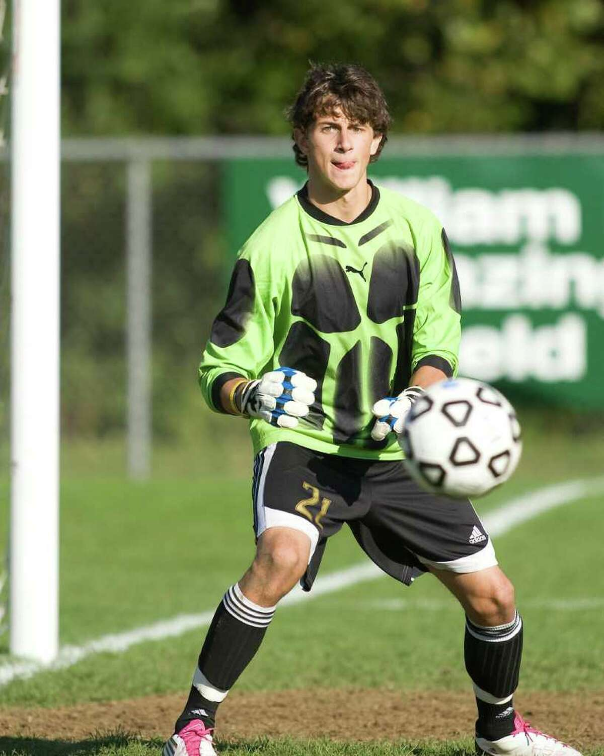 Bethel goalie Troy Deyo has a good look at a New Fairfield shot during their SWC match Thursday at Bethel High.