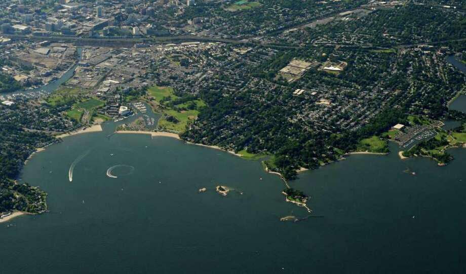 Vincent Island is in Westcott Cove on the Stamford coastline, above, to the left of the larger Caritas Island. Photo: ST