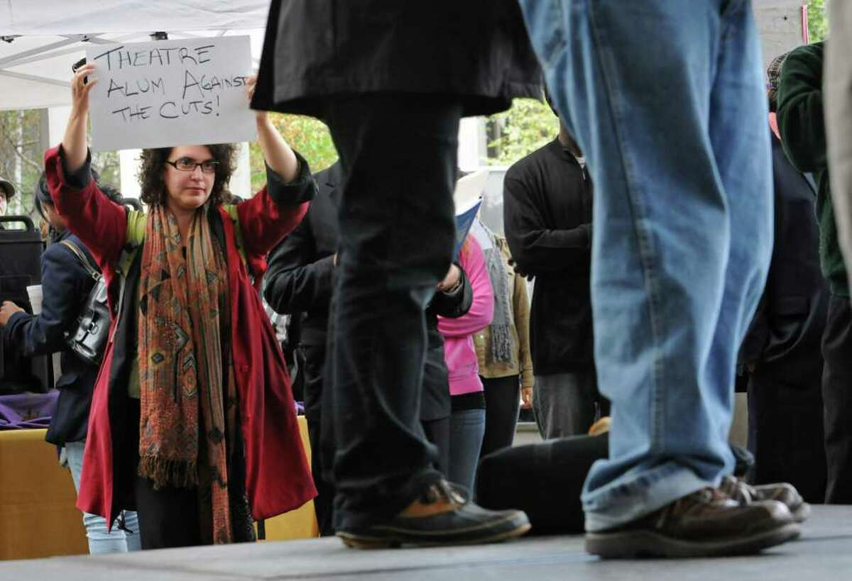Leah Golb, of Albany, who graduated as a theater major, holds a sign during a protest over the cuts in public education at the campus center at UAlbany in Albany, NY, on October 7, 2010. (Lori Van Buren / Times Union)