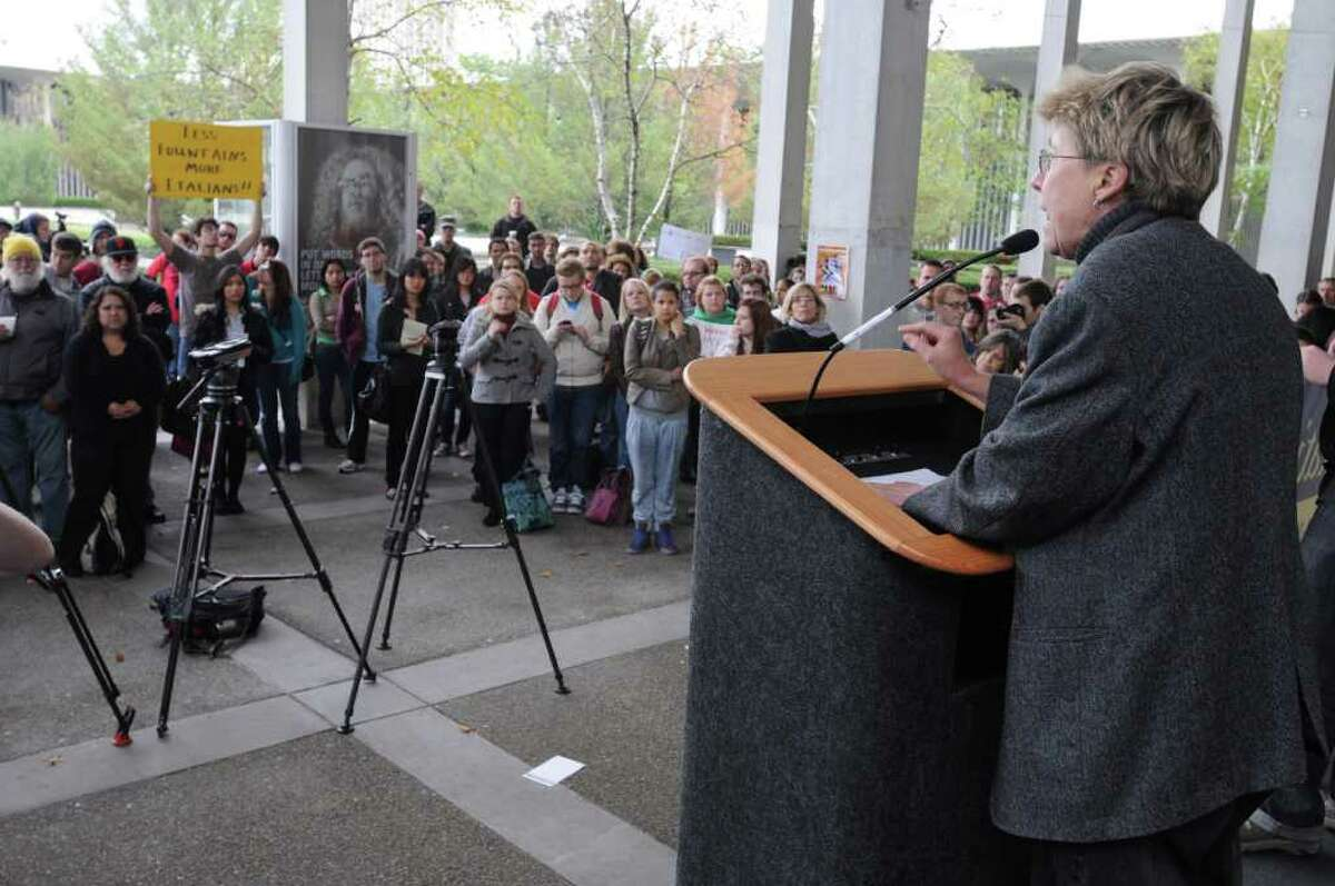 Jill Hanifan of the English Department speaks during a protest over the cuts in public education at the campus center at UAlbany in Albany, NY, on October 7, 2010. (Lori Van Buren / Times Union)