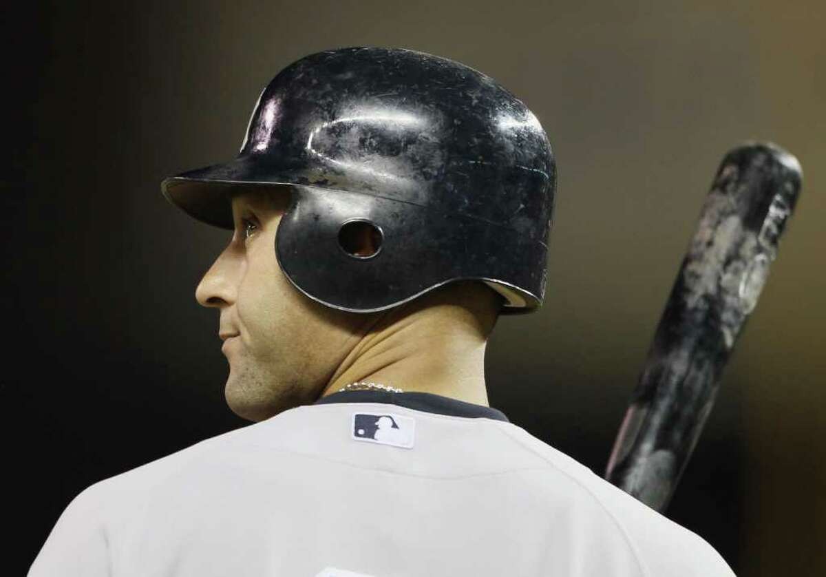 MINNEAPOLIS - OCTOBER 07: Derek Jeter #2 of the New York Yankees waits on deck against the Minnesota Twins during game two of the ALDS on October 7, 2010 at Target Field in Minneapolis, Minnesota. (Photo by Elsa/Getty Images) *** Local Caption *** Derek Jeter