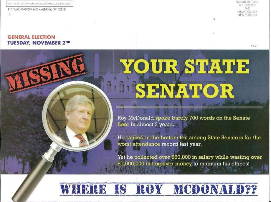 Accuracy is missing from this Democratic mailer challenging incumbent Roy McDonald, a state senator who represents parts of Rensselaer and Saratoga counties.