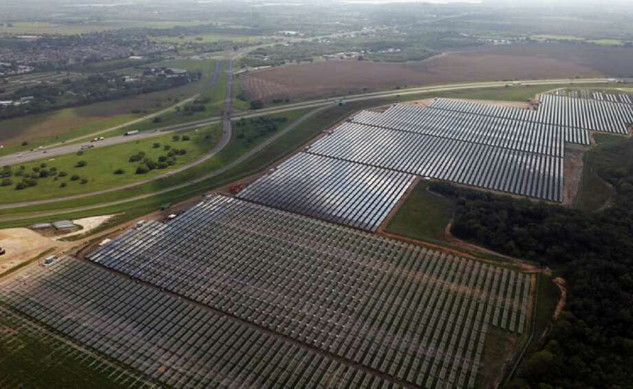 The San Antonio area is to get three more solar installations much like this one, called Blue Wing, a 150-acre solar farm owned by Duke Energy that soon will produce 14 megawatts of power for CPS Energy. SunEdison's proposed solar projects would be smaller but more efficient, thanks to advances in technology and dropping prices.
