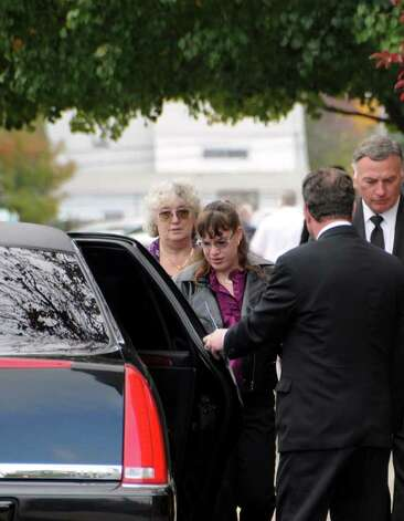 The grandmother and sister of victim Richard Bailey, are escorted into limo outside of St. Bernard's Church in Levittown where a funeral was held for the slain college student on Oct. 27, 2008. (Photo by James Carbone) Photo: Photo By James Carbone