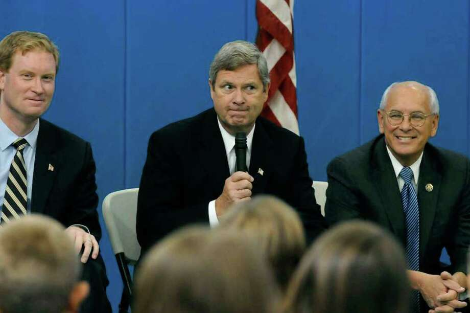 United States Department of Agriculture Secretary Tom Vilsack, center, answers student questions with congressmen Scott Murphy and Paul Tonko, right, during a discussion on early childhood nutrition at Poestenkill Elementary School in Poestenkill on Friday. (Michael P. Farrell / Times Union) Photo: Michael P. Farrell