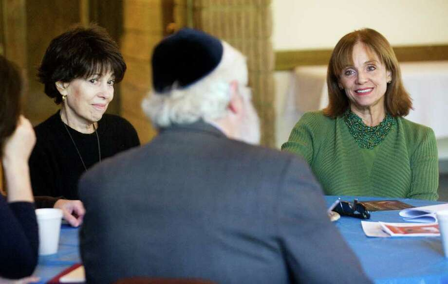 Actress Valerie Harper will be attending a fundraiser Sunday for the Dr. Zvi Almog Early Childhood Jewish Education Center at Beth Israel.  She sits at Beth Israel with Almog's wife Penny Almog, of Westport, disussing the upcoming event with Rabbi Yehoshua Hecht in Norwalk, Conn. on Friday October 8, 2010. Photo: Kathleen O'Rourke / Stamford Advocate