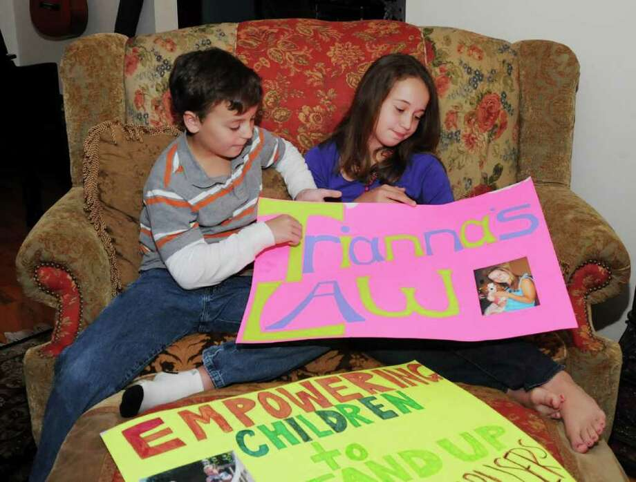 Cyril Gutzman, 10, left, and his sister, Marika, 12, of Bethel, hold a poster that Marika made reflecting a state law that she is trying to put into place that will allow children in custody battles to talk to a judge in chambers about which parent they want to live with. Trianna is their 13-year-old sister, who is not pictured. Thurs. Oct. 7, 2010. Photo: Lisa Weir / The News-Times Freelance