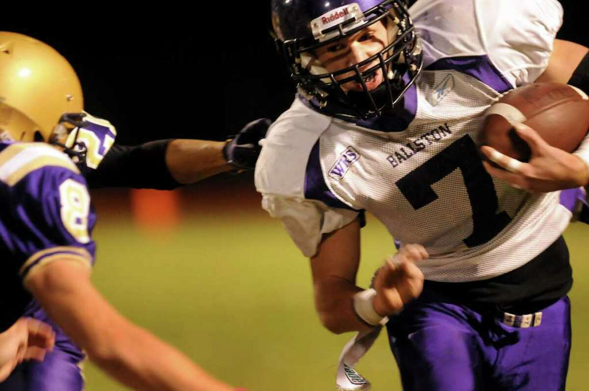 High school football -- Ballston Spa's Kyle Warmt (7) runs the ball during a game against CBA on Friday, Oct. 8, in Colonie. (Cindy Schultz / Times Union)