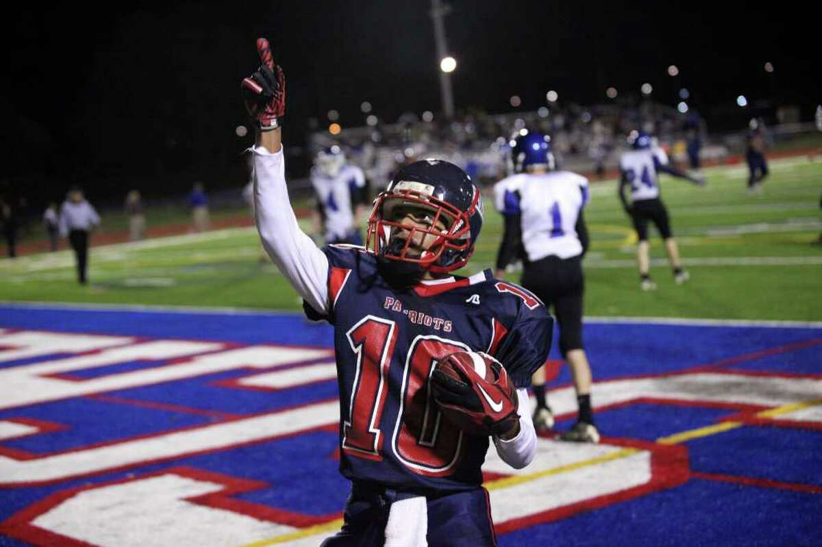 High school football -- Schenectady's Josh Nelson (10) celebrates after scoring a touchdown against La Salle on Friday, Oct. 8. (Patrick Dodson / Special to the Times Union)