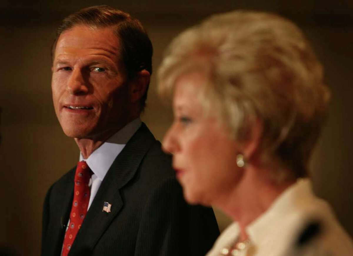 Senate Democratic Candidate Richard Blumenthal looks over at his opponent, Republican Candidate Linda McMahon, during their debate, Thursday morning, October 7, 2010 at the Continental Manor in Norwalk.