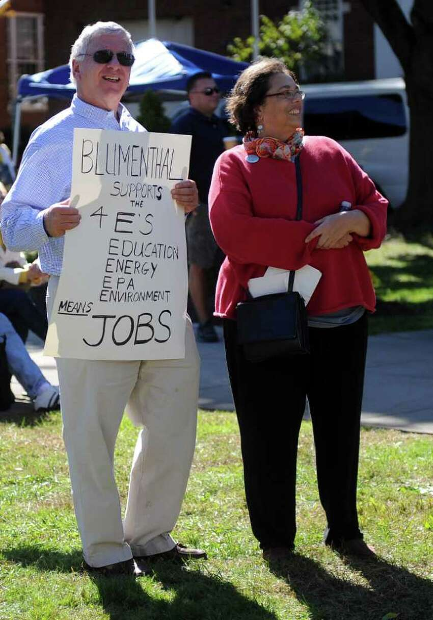 Blumenthal supporters stand behind McMahon supporters during the Linda McMahon rally in Milford on Saturday, October 9, 2010.