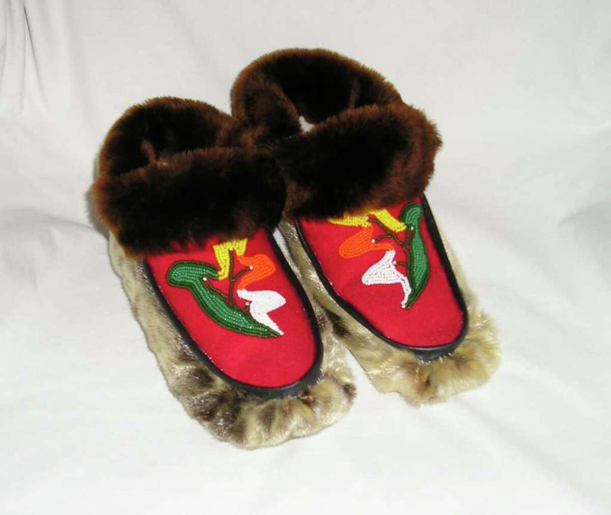 Sealskin moccasins with beaver trim show traditional Tlingit leaf-pattern beading. (Barbara M. Traynor)