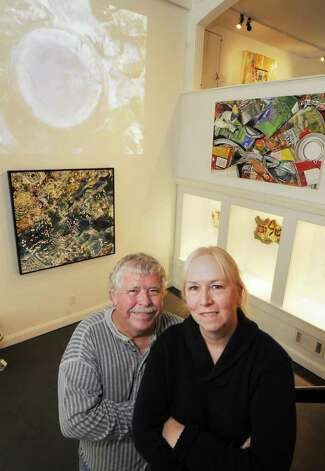 "Sculptor Paul Bouchard and painter Leslie Parke with their art at the House of Creative Soul gallery in Saratoga Springs, NY, on Tuesday, Oct. 5, 2010. It's part of ""The NYFA MARK 10 Artists of Troy"" show. (Luanne M. Ferris / Times Union) Photo: Luanne M. Ferris"