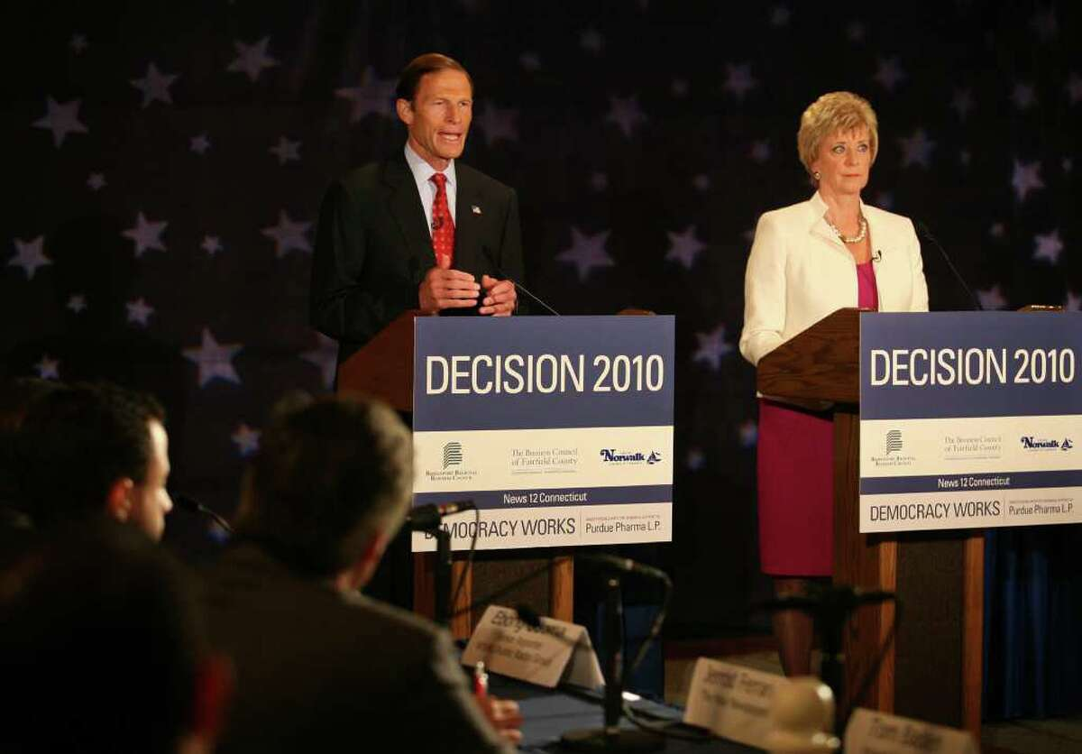 Senate Democratic Candidate Richard Blumenthal and Republican Candidate Linda McMahon square off during their debate, Thursday morning, October 7, 2010 at the Continental Manor in Norwalk.