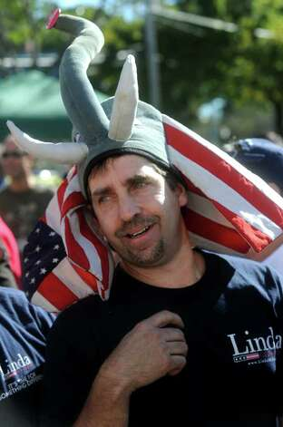 A McMahon supporter dons an elephant hat during the Linda McMahon rally in Milford on Saturday, October 9, 2010. Photo: Lindsay Niegelberg / Connecticut Post