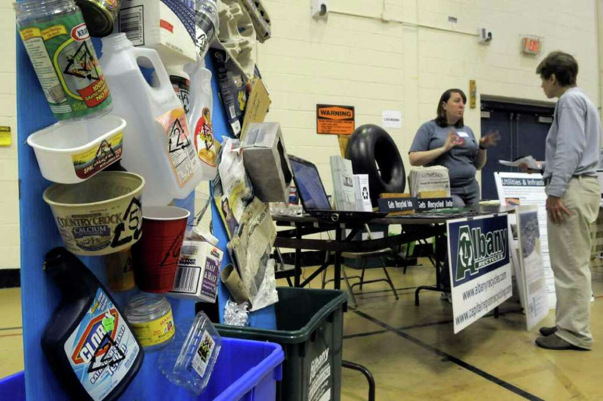 tems that can be recycled are on display at a booth for the City of Albany recycling program at the Environment Fair at Albany High School in Albany, NY on Sunday, Oct. 10, 2010. (Paul Buckowski / Times Union)