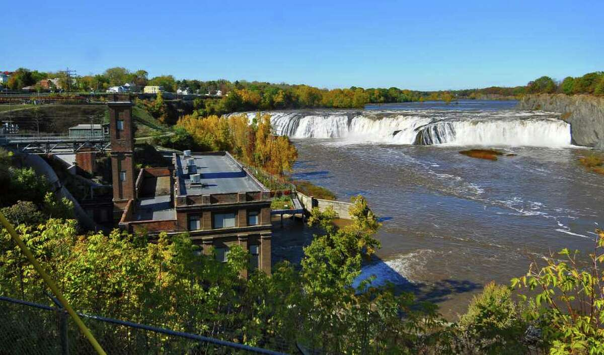 View of Cohoes Falls and the School Street hydro plant, left, in Cohoes, NY on Sunday October 10, 2010. ( Philip Kamrass / Times Union )