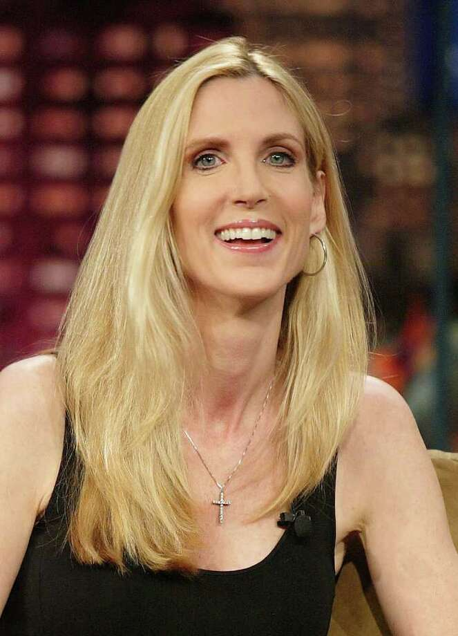 "In this photo released by NBC Universal, host Jay Leno, not seen, speaks with Ann Coulter during taping of ""The Tonight Show with Jay Leno,"" on Wednesday, June 14, 2006, in Burbank, Calif. Photo: File Photo / Stamford Advocate File Photo"