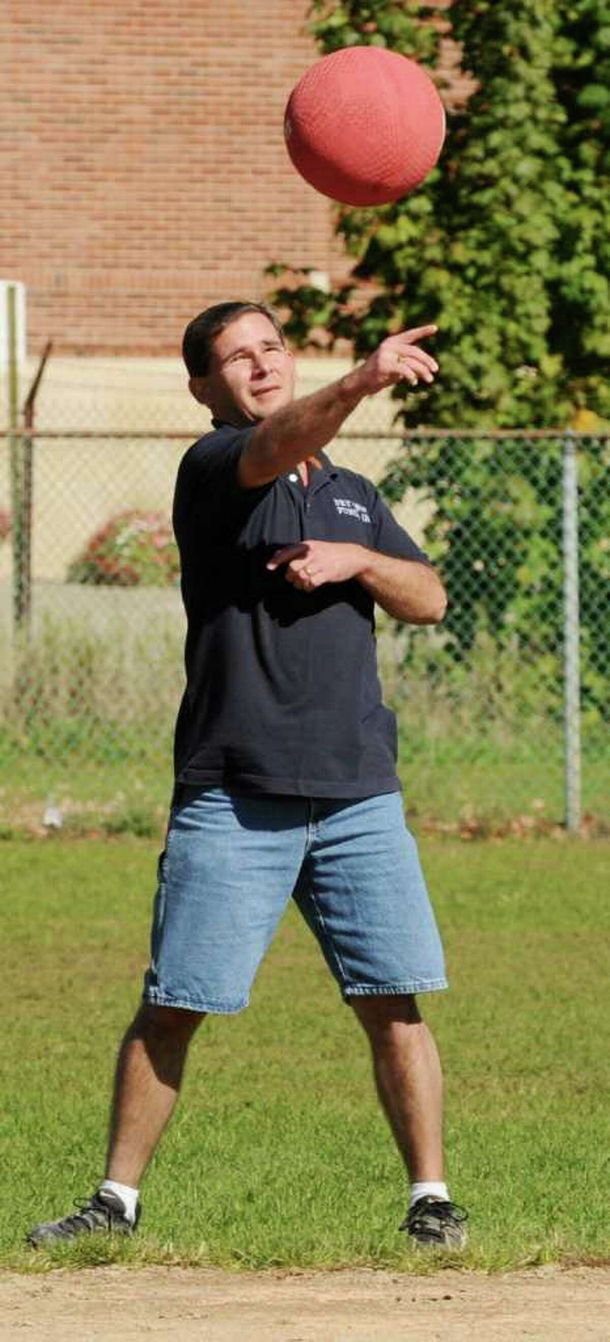 Mark Balistreri of Netter's Team fields a ground ball at the second annual Kickball Tournament to support Netter's Fund at Knickerbacker Park in Lansingburgh on Sunday, Oct. 10, 2010. (Luanne Ferris / Times Union)