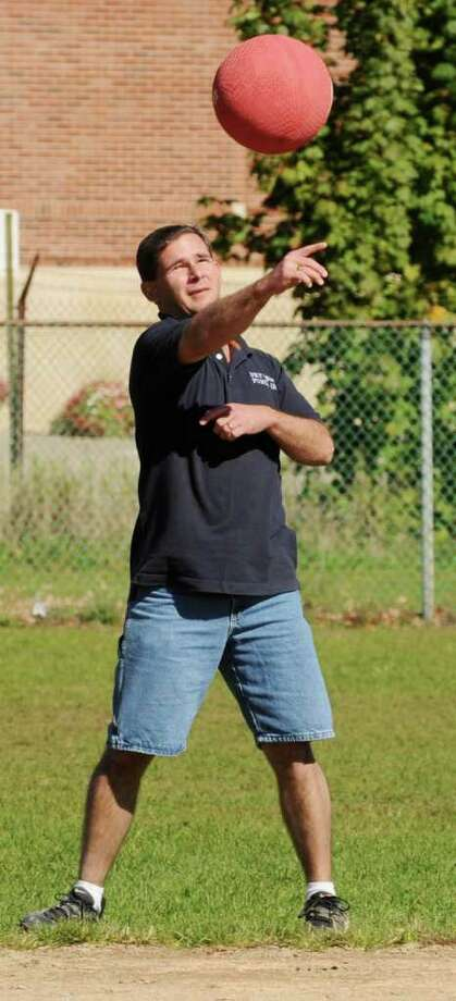 Mark Balistreri of Netter's Team fields a ground ball at the second annual Kickball Tournament to support Netter's Fund  at Knickerbacker Park in Lansingburgh on Sunday, Oct. 10, 2010. (Luanne Ferris / Times Union) Photo: Luanne M. Ferris