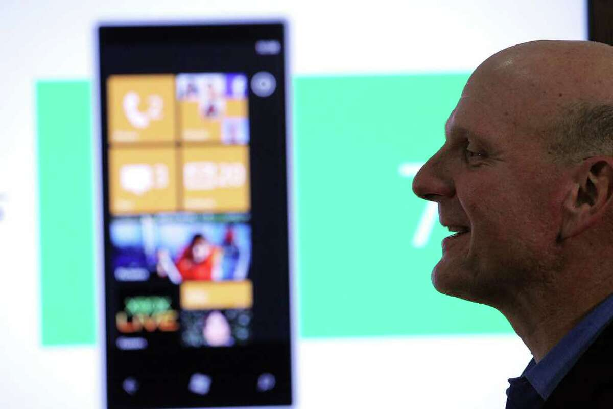 NEW YORK - OCTOBER 11: Microsoft CEO Steve Ballmer introduces the new Windows Phone 7 mobile operating system on October 11, 2010 in New York, New York. The phone, which will be available in the United States on AT&T's network, looks to compete with the iPhone, Android and BlackBerry smartphones. (Photo by Spencer Platt/Getty Images) *** Local Caption *** Steve Ballmer