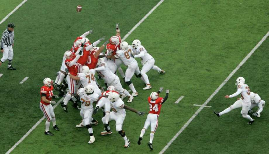 Texas' Ryan Bailey, a walk-on sophomore at the time, nails the game-winning field goal against Nebraska in 2006. It was Bailey's first field-goal attempt at UT.