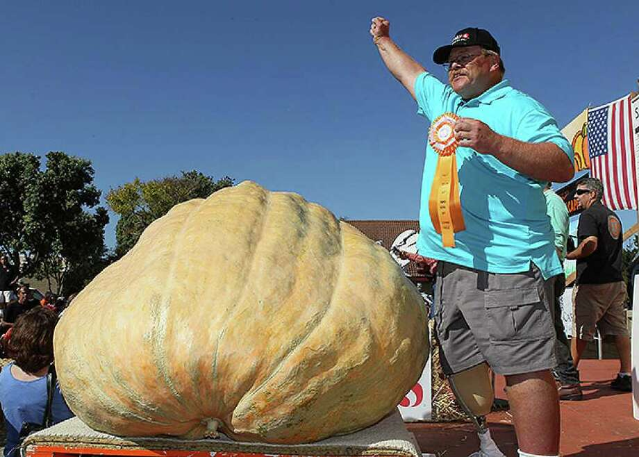 HALF MOON BAY, CA - OCTOBER 11:  Ron Root of Citrus Heights, California celebrates after winning the 37th Annual Safeway World Championship Pumpkin Weigh-Off with his 1,535 pound pumpkin on October 11, 2010 in Half Moon Bay, California. Ron Root took home $9,210 for his massive pumpkin, or $6 a pound.  (Photo by Justin Sullivan/Getty Images) *** Local Caption *** Ron Root Photo: Justin Sullivan, Getty Images / 2010 Getty Images