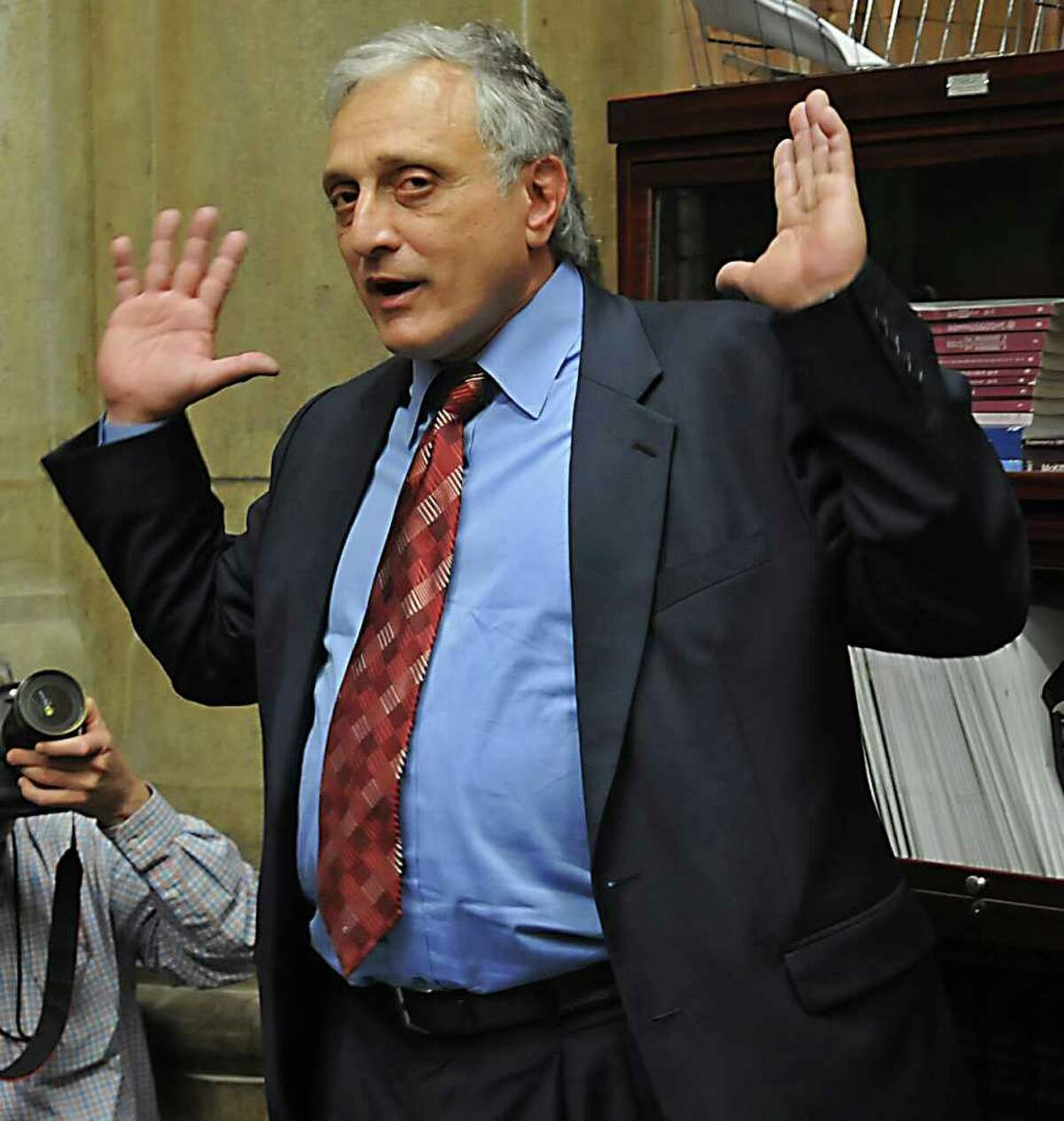 Gubernatorial candidate Carl Paladino speaks to the press in the Capitol in in Albany, NY on April 6, 2010. (Lori Van Buren / Times Union)