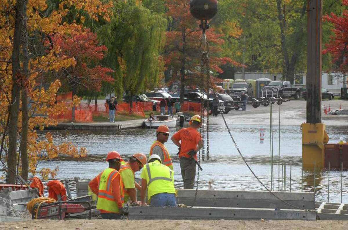 Work continues on the Route 9P bridge at Saratoga Lake, Monday October 11, 2010. (Will Waldron / Times Union)