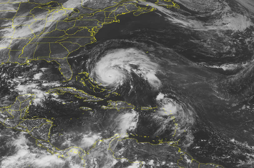 This NOAA satellite image taken Wednesday at 1:45 PM EDT shows shows a large swirl of clouds highlig