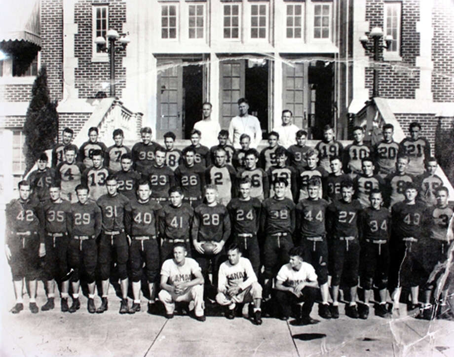 Lamar football team, including Coach John Gray in the center of the back row, 1932. Photo courtesy of the Lamar University archives