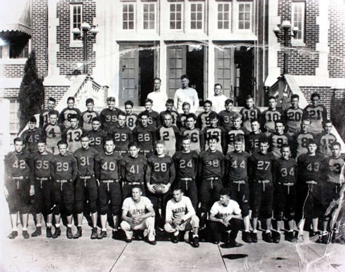 Lamar football team, including Coach John Gray in the center of the back row, 1932. Photo courtesy o