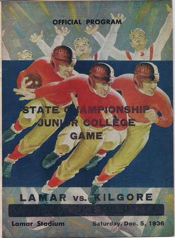 This is a copy of the official football program for the 1936 State Championship Junior College Game between Lamar and Kilgore. Photo courtesy of the Lamar University archives