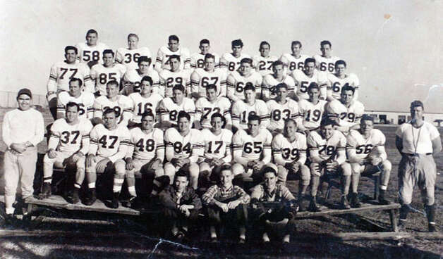 The 1949 Lamar football team photo. Photo courtesy of the Lamar University archives
