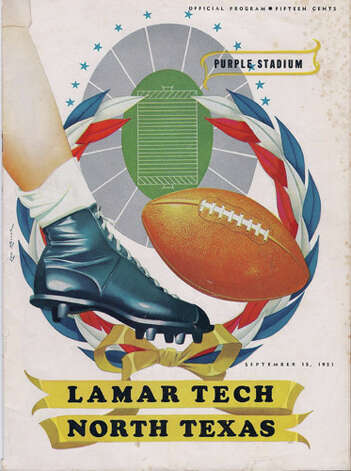 This is a copy of the official football program for the Lamar Tech versus North Texas game in 1951. Photo courtesy of the Lamar University archives