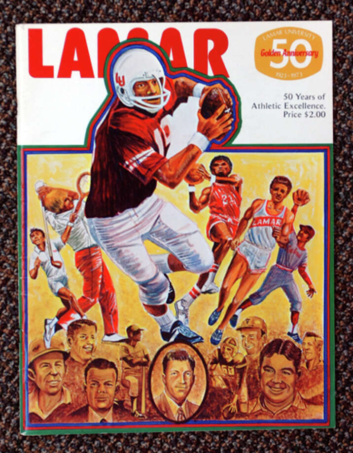 A copy of the 50th Anniversary of Lamar football program from 1973. Photo courtesy of the Lamar University archives
