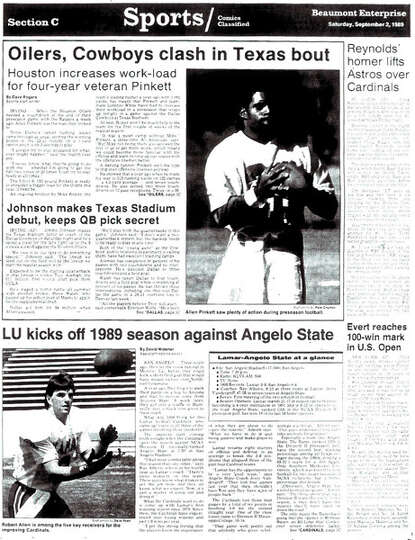 The front page of the sports section for the first game of Lamar's 1989 season. The Cards' football