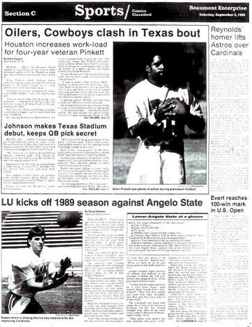 The front page of the sports section for the first game of Lamar's 1989 season. The Cards' football program began again in 2010. September 2, 1989, The Enterprise