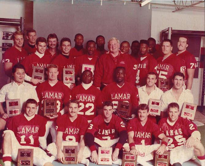 Lamar University football team, 1989. Photo courtesy of the Lamar University archives