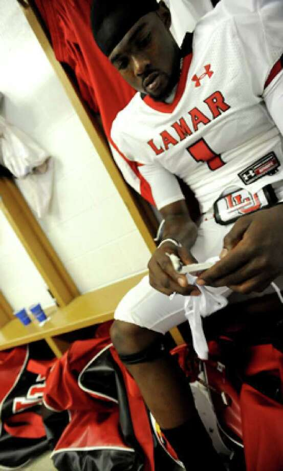 Lamar's Marcus Jackson gets ready before the game against McNeese at McNeese State College in Lake Charles, Saturday. Tammy McKinley/The Enterprise