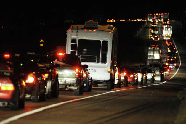 As thousands fled the threat of Hurricane Ike, traffic snaked slowly through the night along Loop 287 in Lufkin carrying evacuees northward toward Tyler and Texarkana. Valentino Mauricio