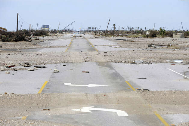 An area near Rollover Pass along Texas 87 is lifeless and abandoned after Ike wiped out nearly all trace of homes and businesses. Valentino Mauricio