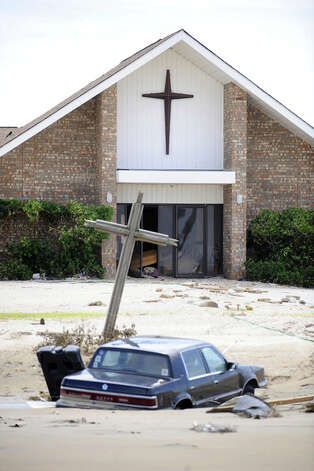 Storm surge waters swept through Theresa of Lisieux Catholic Church in Crystal Beach. Valentino Mauricio