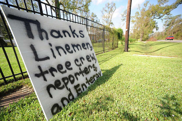 A sign on Lucas Drive thanks workers for their tireless efforts in helping Southeast Texas begin the recovery process. Guiseppe Barranco