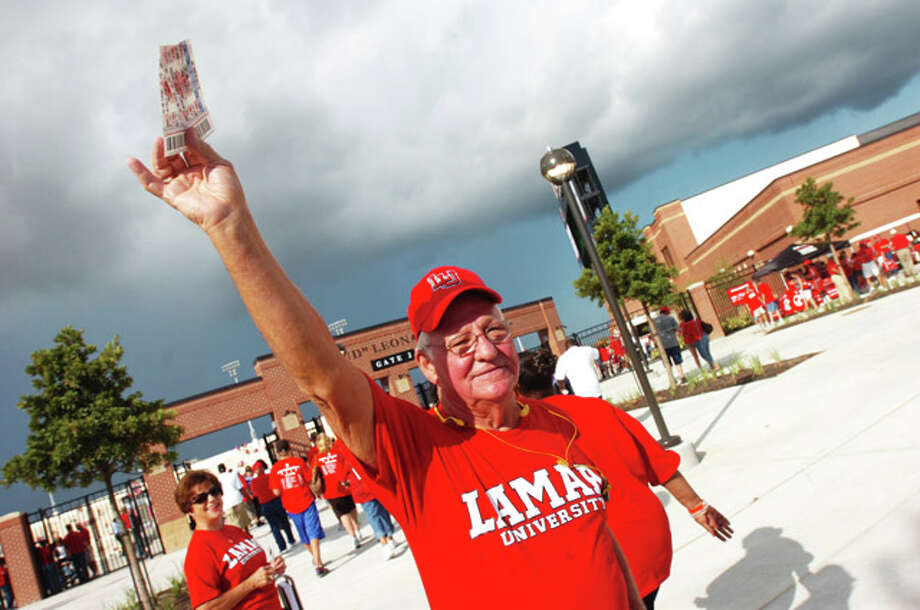Jack Hawthorne of Nederland tries to sell two extra tickets for the hottest game in town, the Lamar Cardinals Saturday matchup against  Webber International at Provost Umphrey Stadium.  September 11, 2010  Valentino Mauricio/The Enterprise