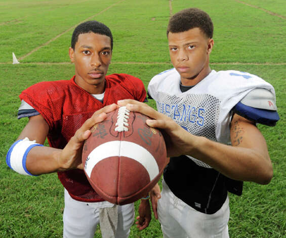 West Orange-Stark quarterback Reggie Garrett, left,  and receiver Mark Roberts are one of the area's leading quarterback/receiver combinations.  Tuesday, August, 17, 2010 Valentino Mauricio/The Enterprise
